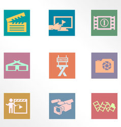 Video and photo vintage color flat icons vector image