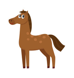 Well gromed brown horse with big eyes cartoon vector