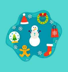 Winter holiday papercut concept vector