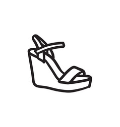 Women platform sandal sketch icon vector