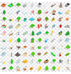 100 sweden icons set isometric 3d style vector image vector image