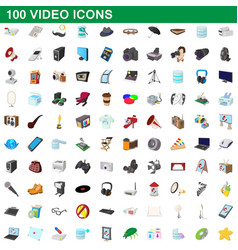 100 video icons set cartoon style vector