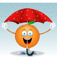 Orange under an umbrella vector