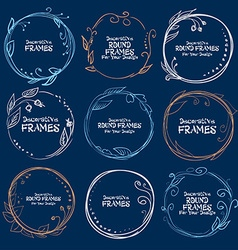 Set of decorative frames hand-drawn on a blue vector
