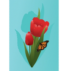 tulips and a butterfly vector image