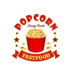 Popcorn basket fast food menu sticker emblem vector