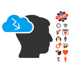 brainstorming icon with love bonus vector image