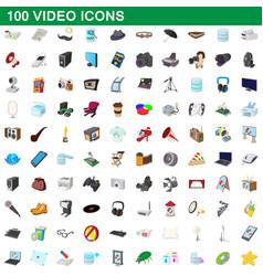 100 video icons set cartoon style vector