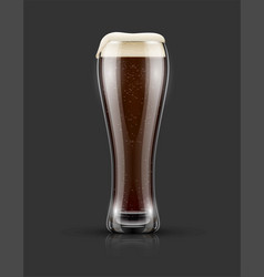 Full glass of dark black beer vector