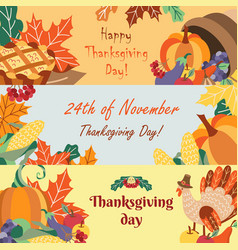 Set of cartoon happy thanksgiving greeting banners vector