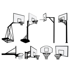 Basketball hoop silhouettes vector