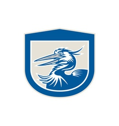 Great blue heron head shield retro vector