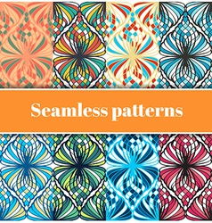 Mosaic seamless patterns set vector