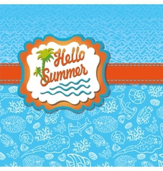 Summer design templatefunny sea lifesun label vector
