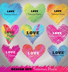 Design set colorful valentines day hearts vector