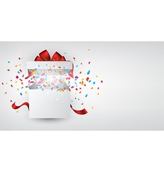 Gift box with confetti vector