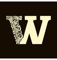 Elegant capital letter w in the style baroque vector