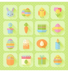 Colorful spring easter flat icons set vector