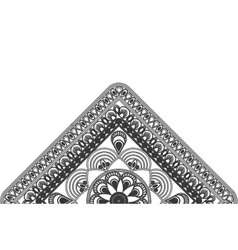 Triangular decorative line half mandala icon vector