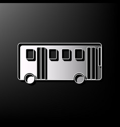 Bus simple sign gray 3d printed icon on vector