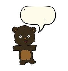 Cartoon cute black bear cub with speech bubble vector