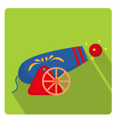 Circus cannon icon flat style with long shadows vector