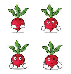 Collection radish character cartoon style set vector