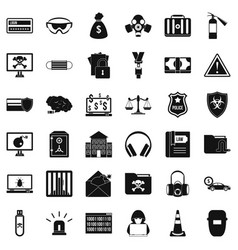 crime icons set simple style vector image vector image