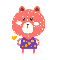 Cute pink teddy bear in purple dress standing vector