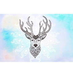 Deer head tattoo mehendi vector