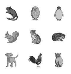 Deer tiger cow cat rooster owl and other vector