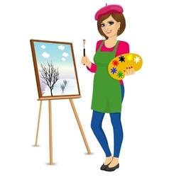 Female painter artist holding palette and brush vector