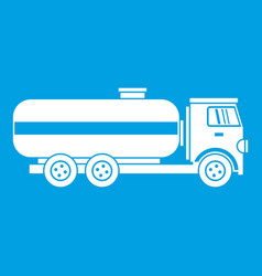 Fuel tanker truck icon white vector