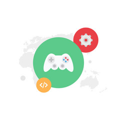 Gear and gamepad global programming flat il vector