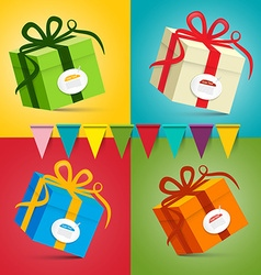Gift Boxes - Present Box Set on Colorful Retro vector image