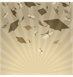 Graduation caps on background rays vector