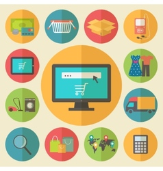 Internet shopping e-commerce concept flat design vector