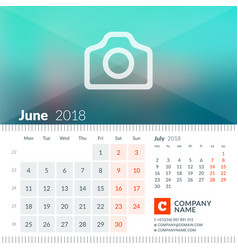 June 2018 calendar for 2018 year week starts on vector