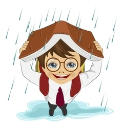 Little boy using book like protection of rain vector image vector image