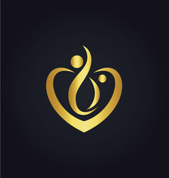 love joy heart couple gold logo vector image vector image