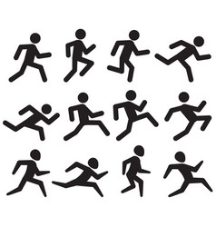 man running figure black pictograms jogging vector image vector image