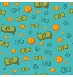 Money Seamless Pattern with Coins and Banknotes vector image vector image