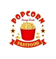 Popcorn basket fast food menu sticker emblem vector image vector image