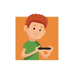 Portrait gamer with mobile phone square orange vector