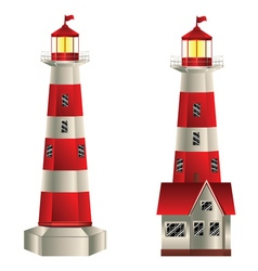 Red and White Lighthouse2 vector image