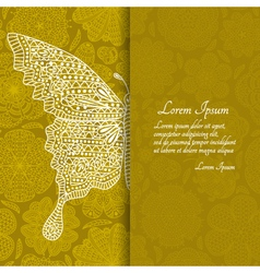 Romantic floral background with butterfly vector image vector image
