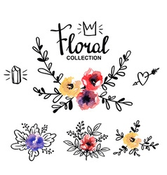 Rustic logo template with watercolor flowers and vector