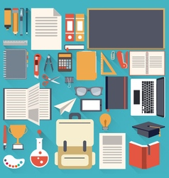 school stationary flat design object vector image vector image