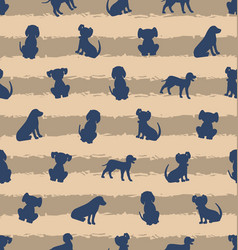 seamless template with different breeds of dogs vector image vector image