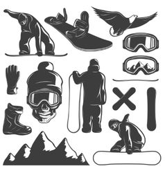 Snowboarding icon set vector